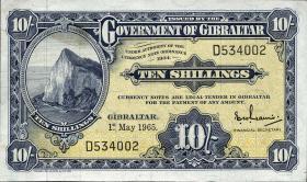 Gibraltar P.17 10 Shillinge 1958 (1-)
