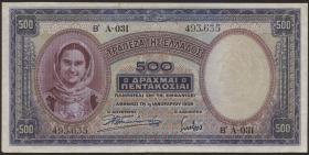 Griechenland / Greece P.109b 500 Drachmen 1939 (3)