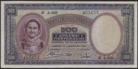 Griechenland / Greece P.109b 500 Drachmen 1939 (3)
