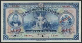 Griechenland / Greece P.069s 1000 Drachmen 1922 NEON Specimen (1/1-)