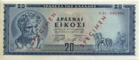 Griechenland / Greece P.190s 20 Drachmen 1955 (1-) Specimen