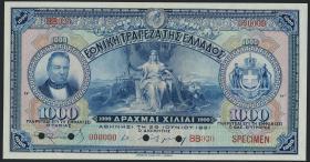 Griechenland / Greece P.069s 1000 Drachmen 1922 Specimen (1)