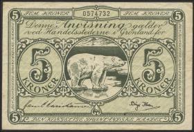 Grönland / Greenland P.18 5 Kronen (1953) (3+)