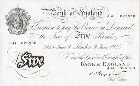 Großbritannien / Great Britain P.342 5 Pounds 1945 (1)