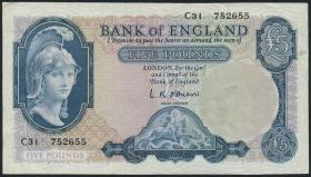 Großbritannien / Great Britain P.371 5 Pounds (1957-67) (3+)
