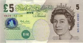 Großbritannien / Great Britain P.391a 5 Pounds 2002 HB  (abwaschbar) (1)