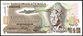 Guatemala P.058c 1/2 Quetzal 1982 (1)