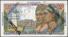 Guadeloupe, Frz. Verw. P.36s 500 Francs (1947-49) Specimen
