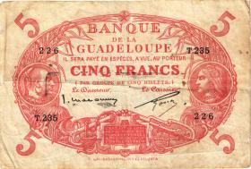 Guadeloupe, Frz. Verw. P.07c 5 Francs (1943) (3-)