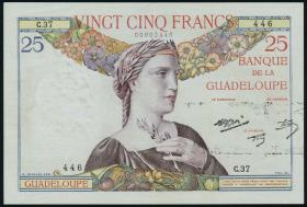 Guadeloupe, Frz. Verw. P.14 25 Francs (1934-1944) (2)