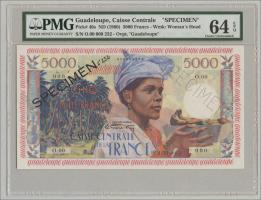 Guadeloupe, Frz. Verw. P.40s 5000 Francs (1960) Specimen