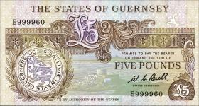Guernsey P.49a 5 Pounds (1980-89) E 999960 (1)