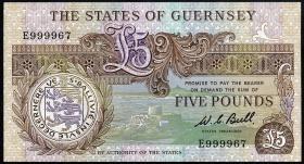 Guernsey P.49a 5 Pounds (1980-89) E 999967 (1)