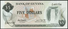 Guyana P.22e 5 Dollars (1966-92) (1)
