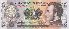 Honduras P.63b 5 Lempiras 1989 (1)