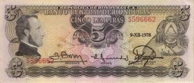 Honduras P.59b 5 Lempiras 1976 (3+)