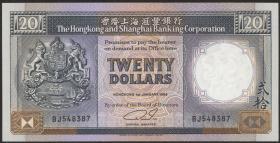 Hongkong, H & K Shanghai Bank P.192c 20 Dollars 1989 (1)