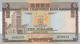 Hongkong, Chartered Bank P.073b 5 Dollars o.D. (1975) (1)