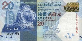 Hongkong, H & K Shanghai Bank P.212c 20 Dollars 2013 (1)
