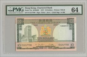 Hongkong, Chartered Bank P.074c 10 Dollars 1977 (2+)