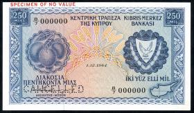Zypern / Cyprus P.44s 5 Pounds 1964 Specimen (1/1-)