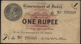 Indien / India P.001b 1 Rupie 1917 (3)
