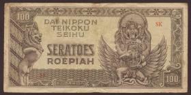 Ndl. Indien / Netherlands Indies P.132 100 Rupien (1944) (3-)
