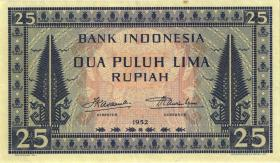 Indonesien / Indonesia P.044a 25 Rupien 1952 (3+)