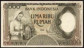 Indonesien / Indonesia P.063 5000 Rupien 1958 (2+)