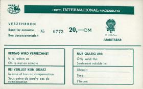 Hotel International Magdeburg Verzehrbon 20 DM (1)