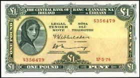 Irland / Ireland P.64c 1 Pound 1974 (1/1-)