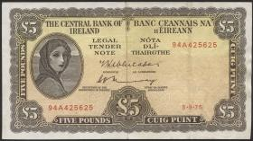 Irland / Ireland P.65c 5 Pounds 1975 (3)