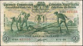 Irland / Ireland P.08a 1 Pound 1935 (3-)