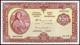 Irland / Ireland P.67c 20 Pounds 1976 (2+)