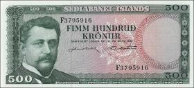 Island / Iceland P.45 500 Kronen 1961 (1)