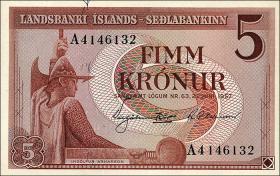 Island / Iceland P.37 5 Kronen 1957 (1)