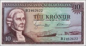 Island / Iceland P.38 10 Kronen 1957 (1)
