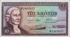 Island / Iceland P.38a 10 Kronen 1957 (1)
