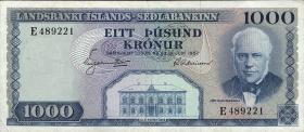 Island / Iceland P.41 1000 Kronen L. 1957 (2)