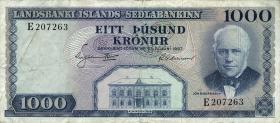 Island / Iceland P.41 1000 Kronen L. 1957 (3)