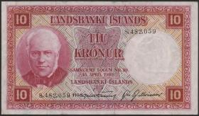 Island / Iceland P.33a 10 Kronen L. 1928 (3+)