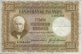 Island / Iceland P.36a 500 Kronen L. 1928 (3+)