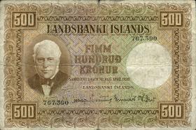 Island / Iceland P.36a 500 Kronen L. 1928 (4)