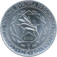 Italien 10 Euro 2003 EU-Präsidentschaft stg