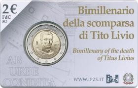 Italien 2 Euro 2017 Titus Livius - 2000. Todestag in Coincard