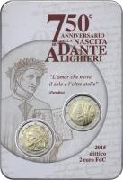 Italien 2 Euro 2015 Dante + 2 Euro Kursmünze 2015 (Dante)