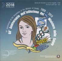 Italien Euro-KMS 2018 mit 2 Euro Sondermünze Gesundheitsministerium