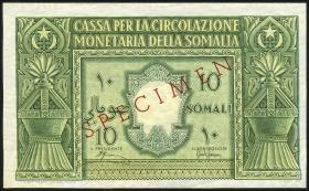 Ital.-Somaliland/Ital. Somaliland P.13s 10 Somali 1950 Specimen (1)