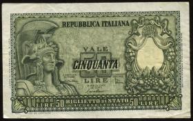 Italien / Italy P.091b 50 Lire 1951 (3)