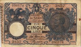 Italien / Italy P.023e 5 Lire 1904 (1918) (3-)